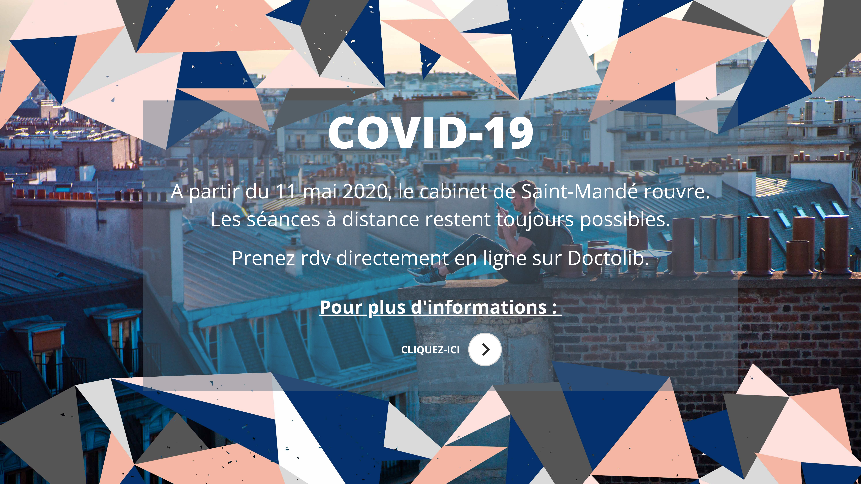 Covid-19 - réouverture du cabinet, séances d'hypnose en présentiel - Elsa Couteiller Hypnologue