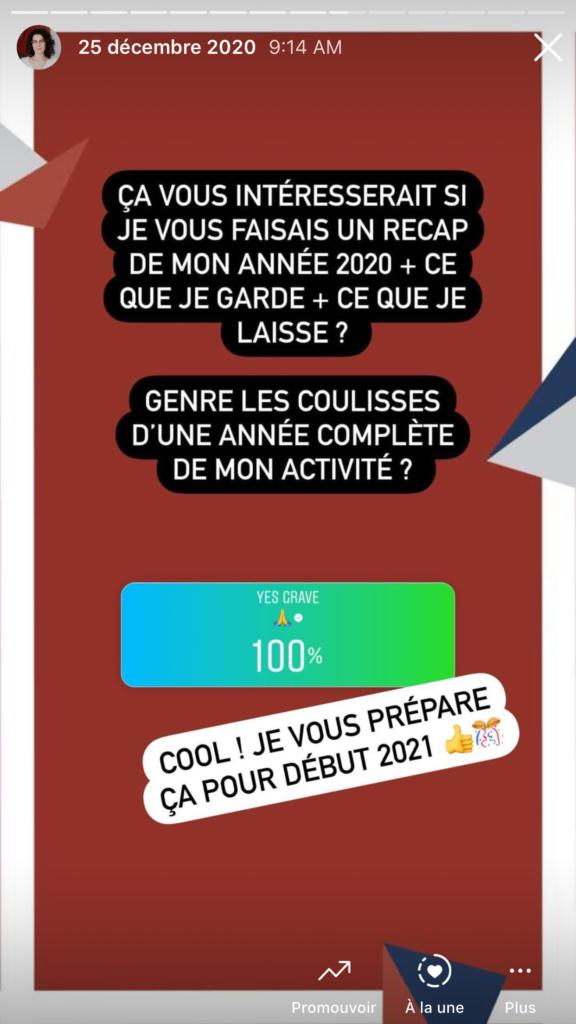 2020 : récapitulatif émotionnel et entrepreneurial d'une année mouvementée - story instagram